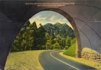 View from the Loop Underpass showing the Chimney Tops and the Newfound Gap Highway