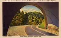 View from the Loop Underpass showing the Chimney Tops and the Newfound Gap Highway, Great Smoky Mountains National Park