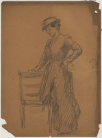 Pencil drawn figure drawing of woman standing