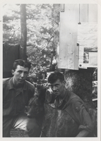 Frank Wilson, Cumberland Jack & Paul J. Adams, below Bulletin Board, camp on Mt. LeConte 1925