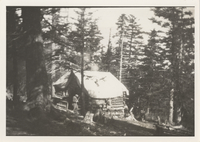 First Log Cabin on Top of Mt. LeConte, winter of 1925-'26 Built by Paul J. Adams