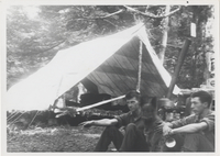 Paul J. Adams, Cumberland Jack, Frank Wilson in front of tent top of Mt. LeConte 1925