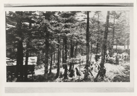 CampYard, 1926; Adams Cabin on Left, 'House That Jack Built' on Right, Tables and people in middle