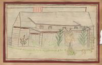 Teachers' cottage where 10 people live *-Drawn by Nell Clabo