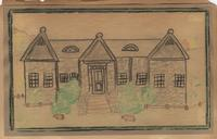 The high school building, built in 1932--drawn by Hazel Ogle