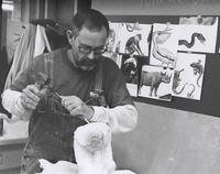 "Bob Lockhart working during ""Stone Sculpture"" March 16-20, 1998."