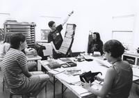 "Matthew Liddle presenting personal work to his class during ""Interactive Books: Oracles and Amusements"" June 1-5, 1998."