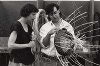Basketry instructor, Rise Petersons, left, answers questions in an Arrowmont School workshop focusing on rattan wicker basketry. (June 12-16th, 1989).