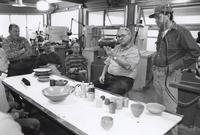 "Ray Key critiquing work produced by his students during ""Wood Turning: Artistic and Functional."" March 8-12, 1999."