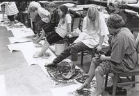 "Students ""Foot Painting"" during ""Drawing: Creative Differences and Self-Expression."" 1998 Children's Classes."