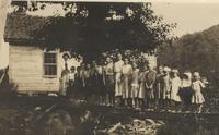 Students in front of One-Room Schoolhouse, Gatlinburg