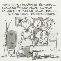 Elwood passed away in the middle of Super Bowl XXI