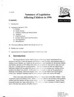 Summary of Legislation Affecting Children in 1996