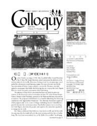 Great Smoky Mountains Colloquy:              Volume 5, Number 2