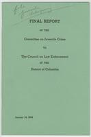 Final Report of Committee on Juvenile Crime to the Council of Law Enforcement of the District of Columbia