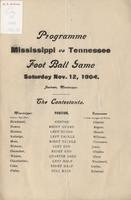1904 Football Program - Tennessee Medical College at Mississippi