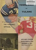 1962 Football Program - UT vs Tulane