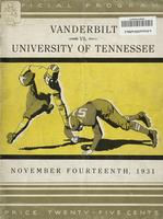 1931 Football Program - UT vs Vanderbilt