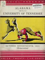 1931 Football Program - UT vs Alabama