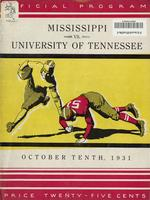 1931 Football Program - UT vs Mississippi