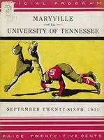 1931 Football Program - UT vs Maryville (non-IA)