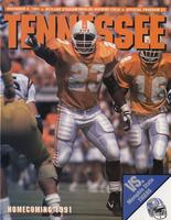 1991 Football Program - UT vs Memphis State