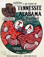 1968 Football Program - UT vs Alabama