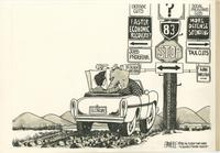 Ronald Reagan and Republican Elephant argue over which direction to drive to next