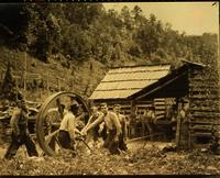 Threshing grain in Cades Cove