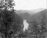 Looking south down the Little Tennessee River with Fodderstack Mountain in the distance; from the site of the U.S. 129 Overlook above Calderwood Dam