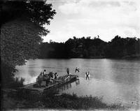 Niles Ferry, the Little Tennessee; boys diving into the river