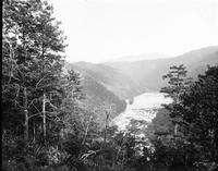 Circular shoals on Little Tennessee River looking east from site of present day U.S. 129 Overlook above Calderwood Dam
