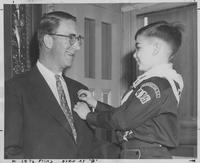 Presentation of an award to Estes Kefauver from a Boy Scout