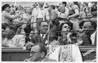 Estes and Nancy Kefauver in the stands watching a bullfight in Spain