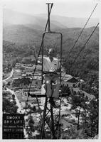Estes Kefauver waves from the Smoky Sky Lift in Gaitlinburg, Tennessee