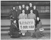 "Boston University students pose with sign ""Kefauver, He's Our Man"""