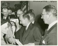 Adlai Stevenson and Estes Kefauver greeting voters