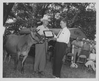 Estes Kefauver presented and Award by unidentified man with a cow