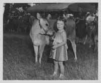 Unidentified girl and calf