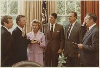 Howard Baker, Ronald Reagan and John Duncan at Swearing-in Ceremony in White House