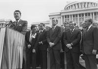 Howard Baker, George HW Bush, Ronald Reagan, and John Rhodes at Republican Unity Day Pledge
