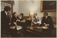 Howard Baker, Ronald Reagan, Storm Thurmond, and John Tower at White House