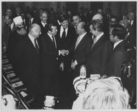 Group including Howard Baker, Robert Byrd and Menachem Begin at Foreign Relations Luncheon