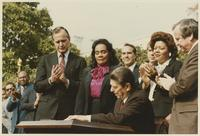 Howard Baker, George Bush, Bob Dole, and Coretta Scott King