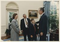 Howard Baker, George Bush, Cynthia Baker, and Child at the White House