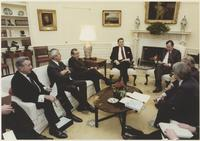 Howard Baker, George HW Bush and Ronald Reagan in Meeting in Oval Office