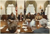 Howard Baker, Ronald Reagan, Pete Domenici, and Bob Dole in Meeting at White House