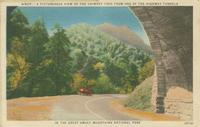 A Picturesque View of the Chimney Tops from on of the Highway Tunnels in the Great Smoky Mountains National Park (N905)