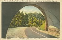 View from the Loop Underpass showing the Chimney Tops and the Newfound Gap Highway, Great Smoky Mountains National Park (225)