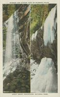 Summer and Winter View of Rainbow Falls. Great Smoky Mountains, National Park